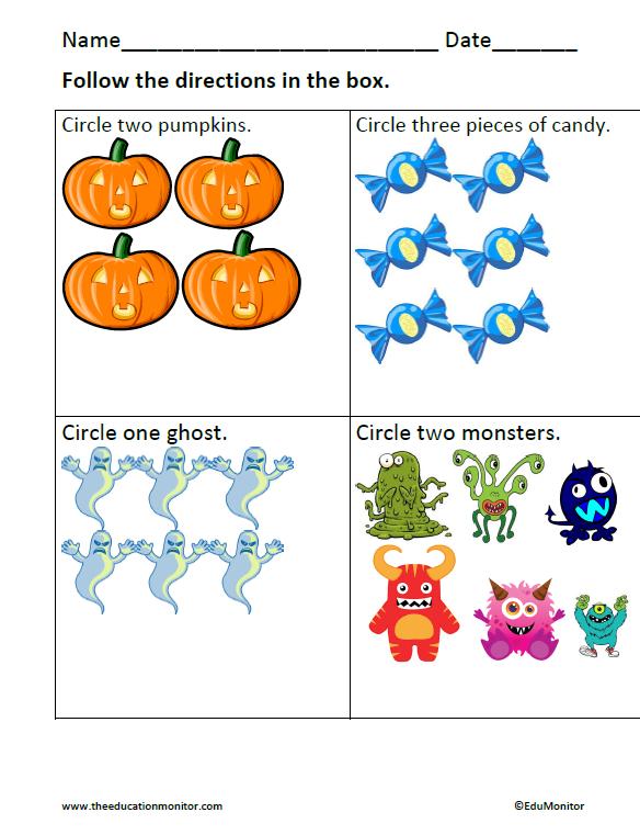 Number Names Worksheets kindergarten halloween math worksheets – Free Halloween Math Worksheets