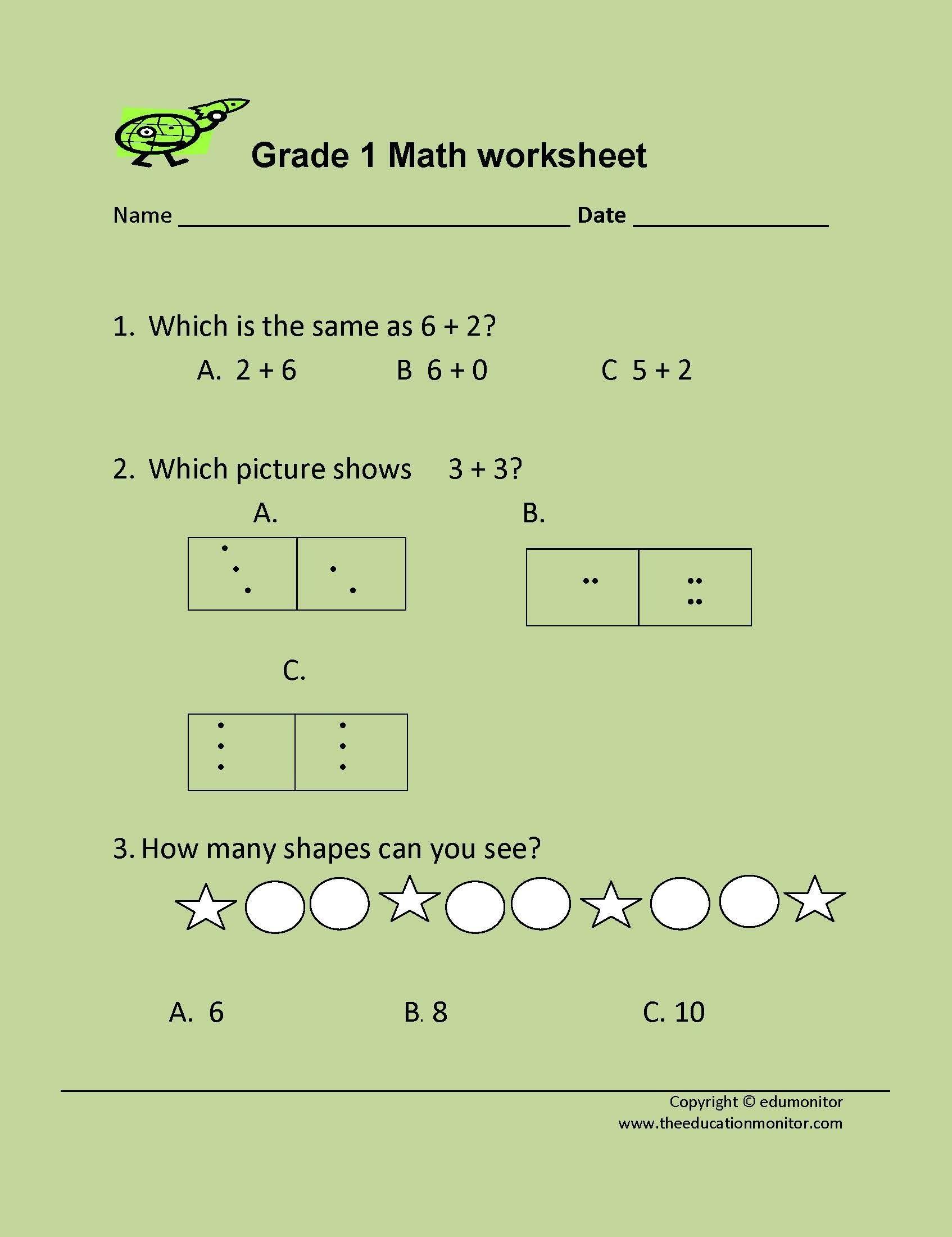 1st grade addition math worksheets