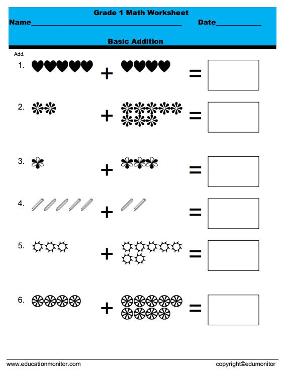 1st Grade Addition Math Printable