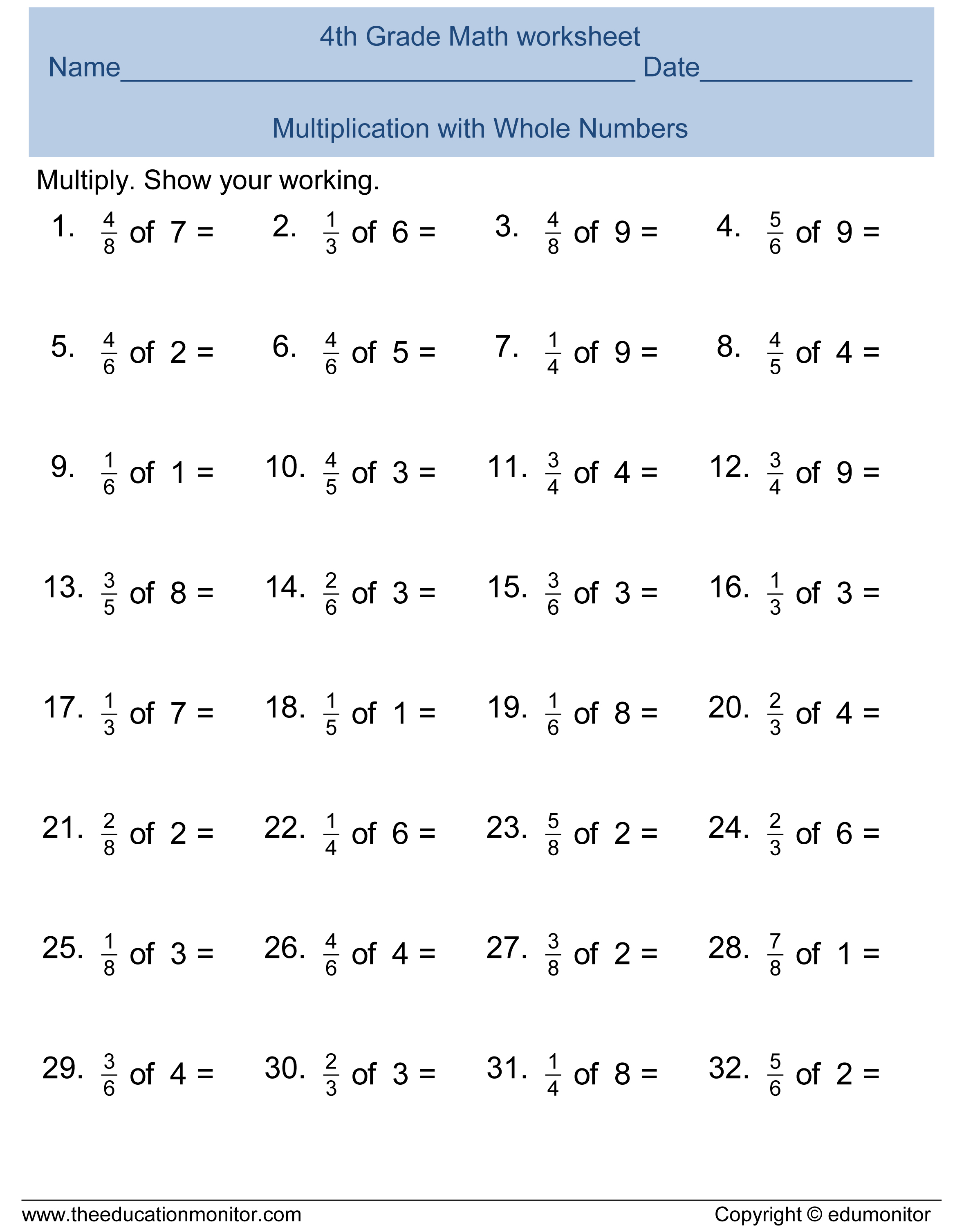 worksheet Multiplying Fractions By Whole Numbers Worksheets 4th Grade free printable worksheets for 4th grade adding and subtracting fractions grade