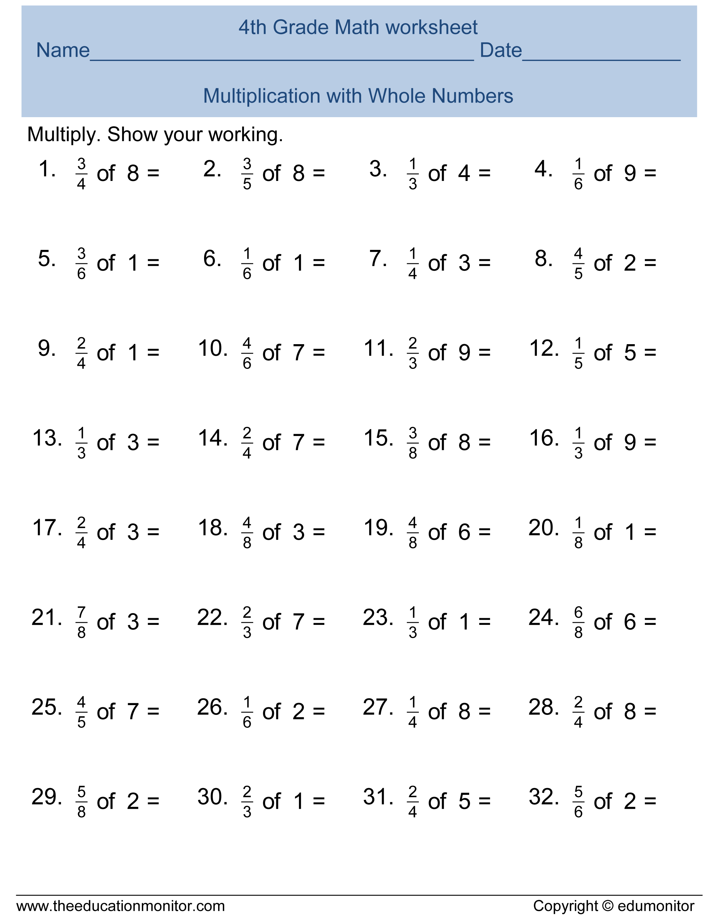 Free Printable Worksheets for 4th Grade – 5th Grade Math Printable Worksheets