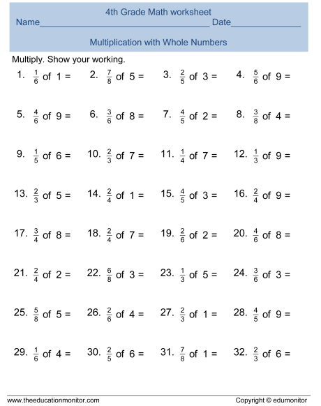 Fourth Grade Fractions Worksheets And Printables