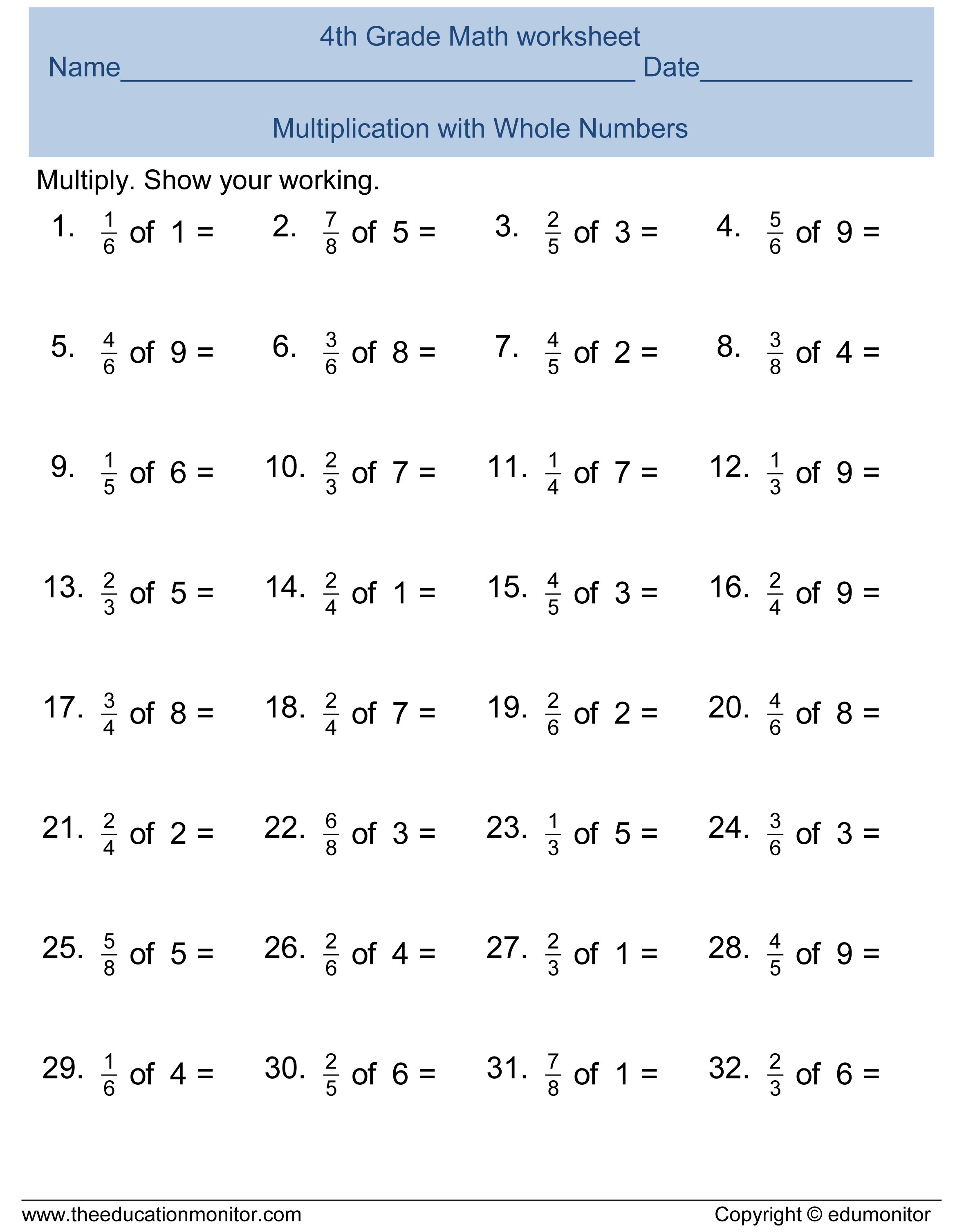 Free Printable Worksheets for 4th Grade – Year 7 Fractions Worksheets