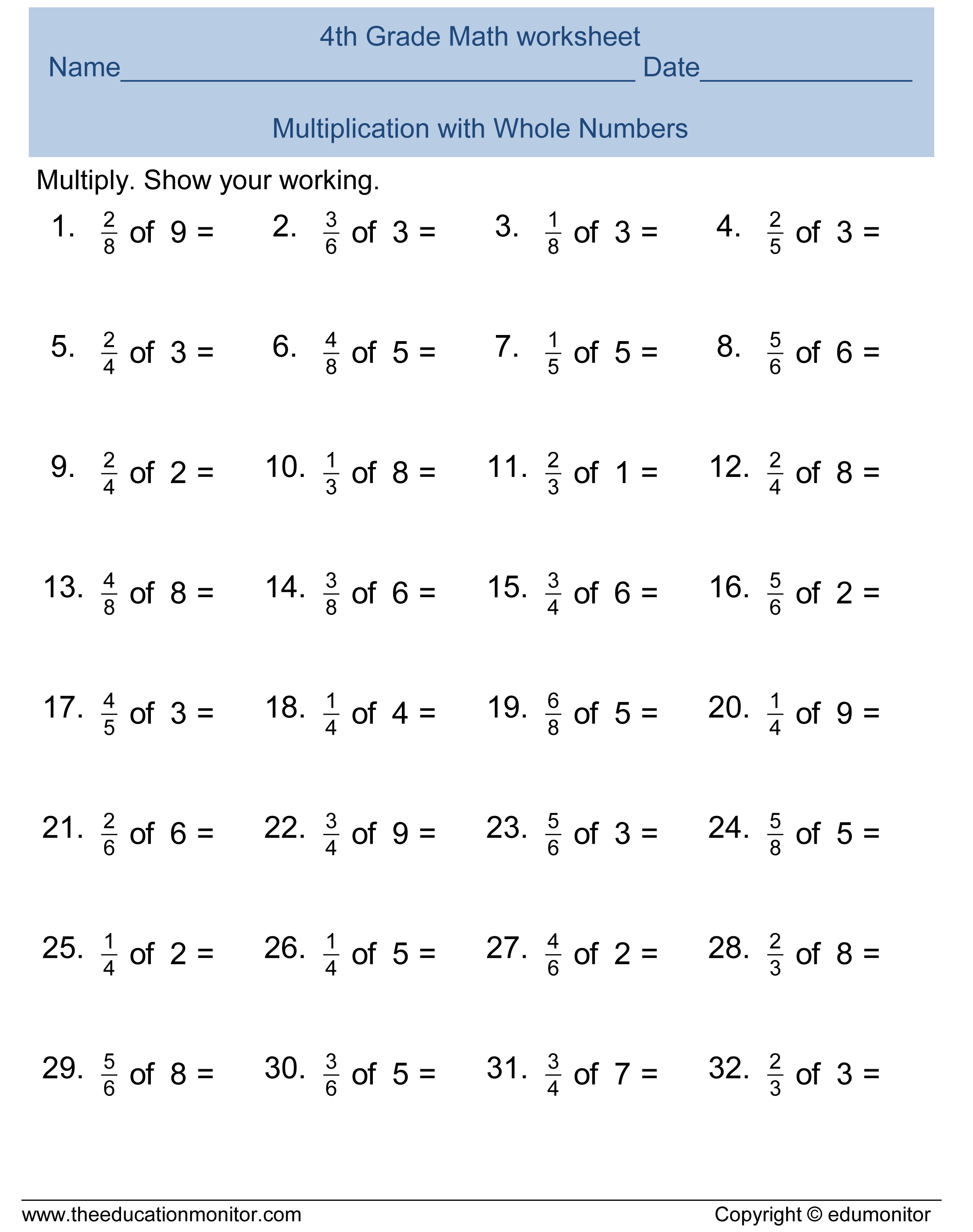 Free Printable Worksheets for 4th Grade – 4rd Grade Math Worksheets
