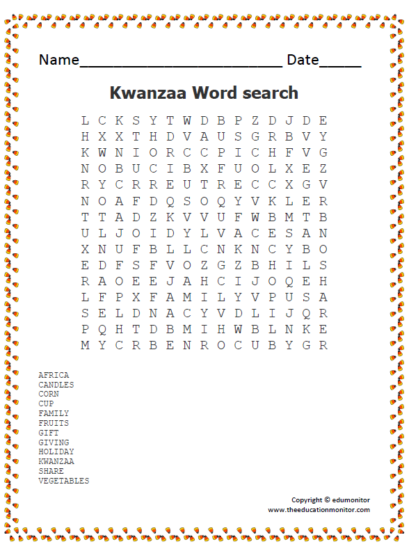 Kwanzaa Word Search Worksheet For Kids