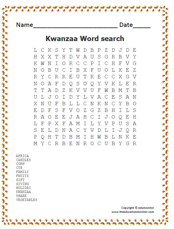nia Archives EduMonitor – Kwanzaa Worksheets