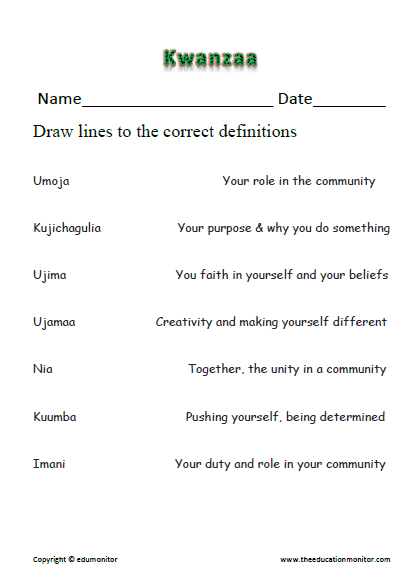 Descriptions of the seven principles of Kwanzaa celebration. | Kwanzaa worksheet
