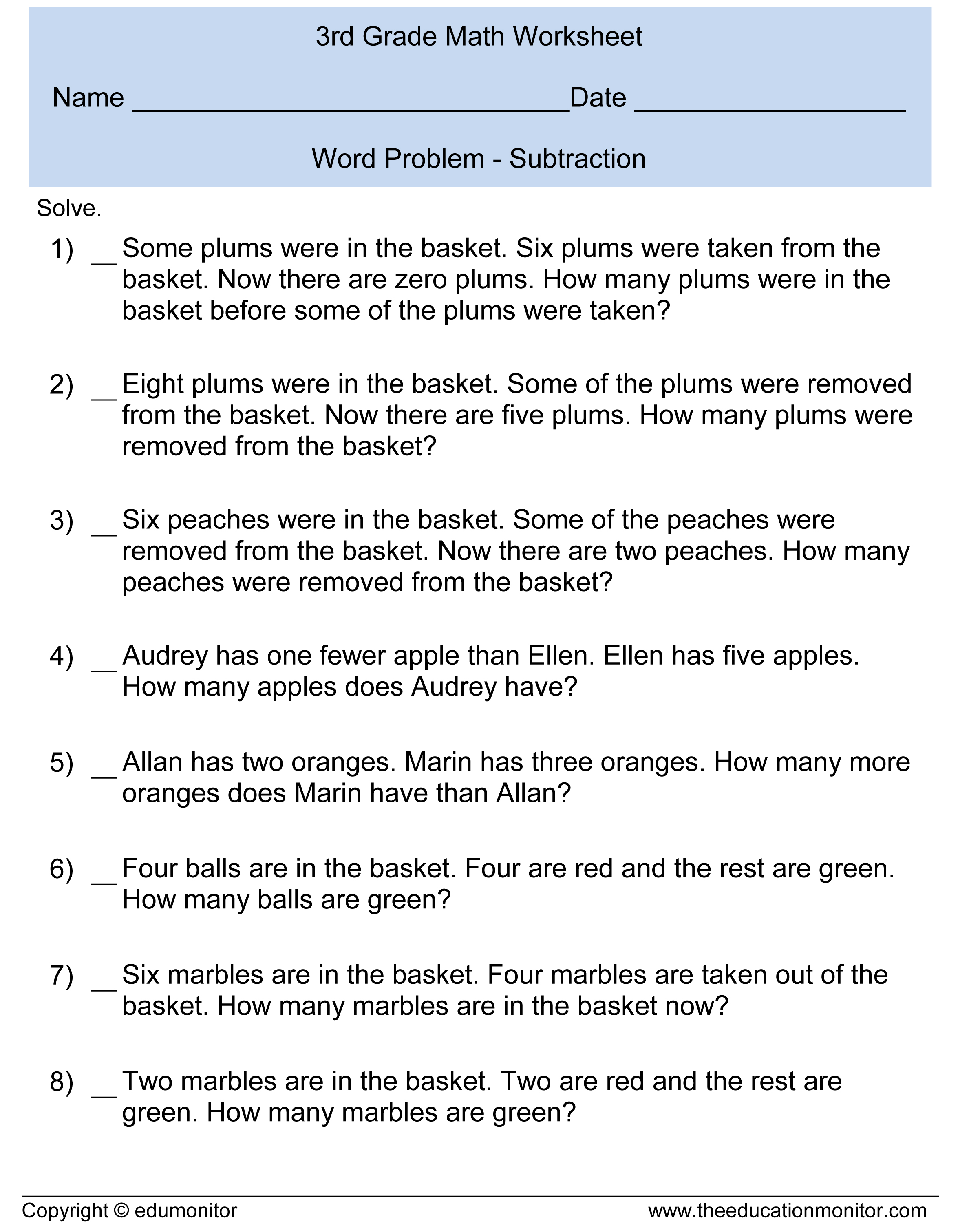 worksheet Word Problems 3rd Grade third grade subtraction word problems3rd math discussion
