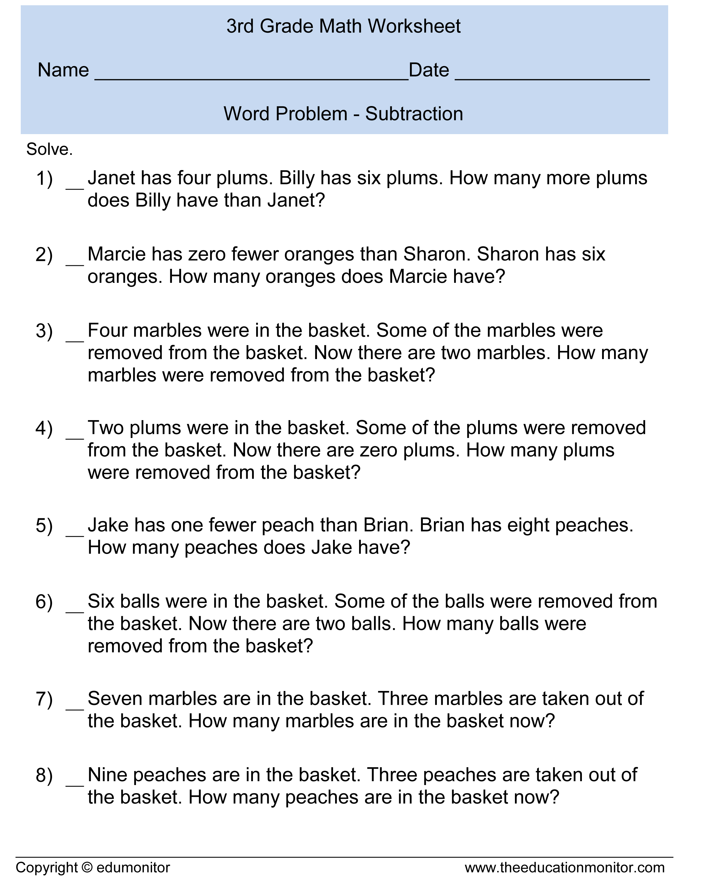 Subtraction Word Problems 3rd Grade – EduMonitor