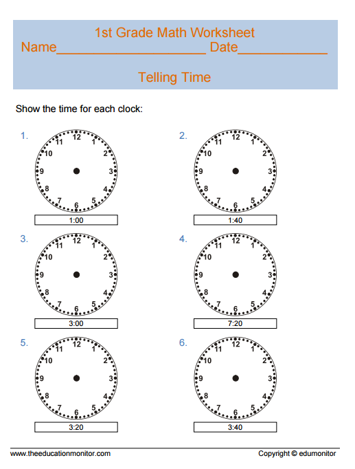 Telling Time Math Worksheets For First Grade Kids Edumonitor. Tellingtime911st. First Grade. First Grade Math Work Sheets At Mspartners.co