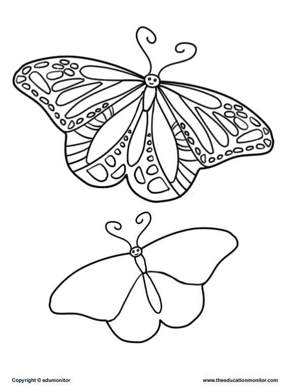Coloring pages of butterfly for kids