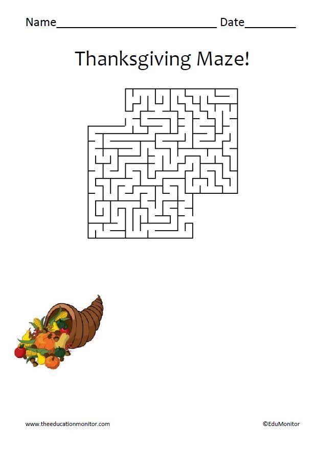 Thanksgiving maze for kids thanksgiving celebrations fun