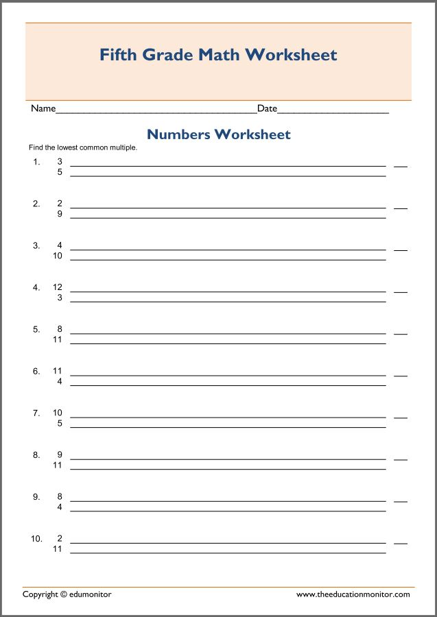 Least Common Multiple Worksheet Edumonitor