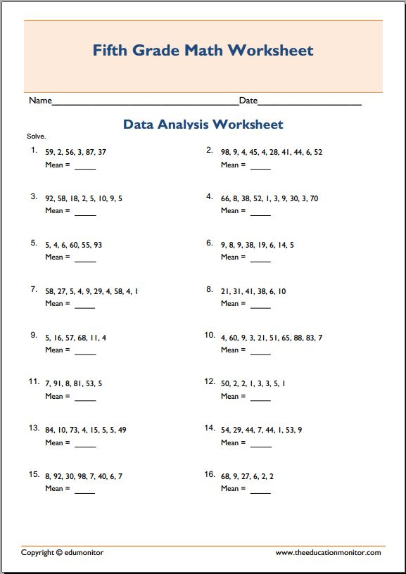 Finding the average worksheet