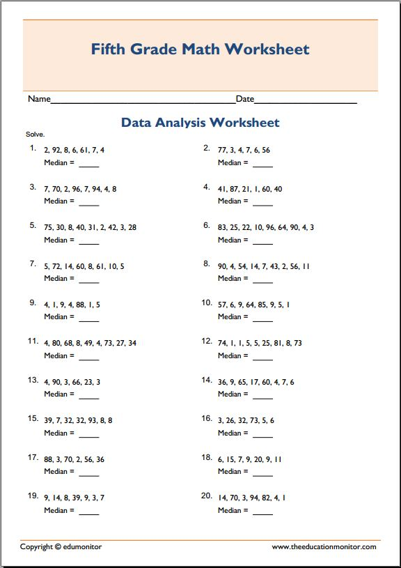 Median Vs Average 5th Grade Math Worksheets