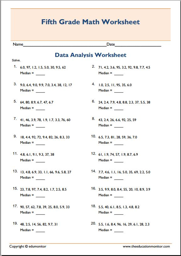 Finding Median Math Worksheets