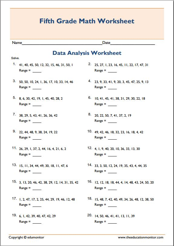 Range Median Mode Worksheets Printable : Mean median mode range printable worksheets edumonitor