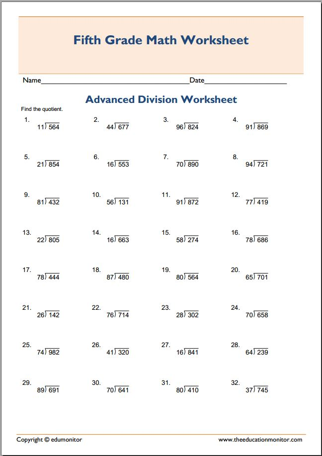 5th Grade Advanced Division Math – EduMonitor