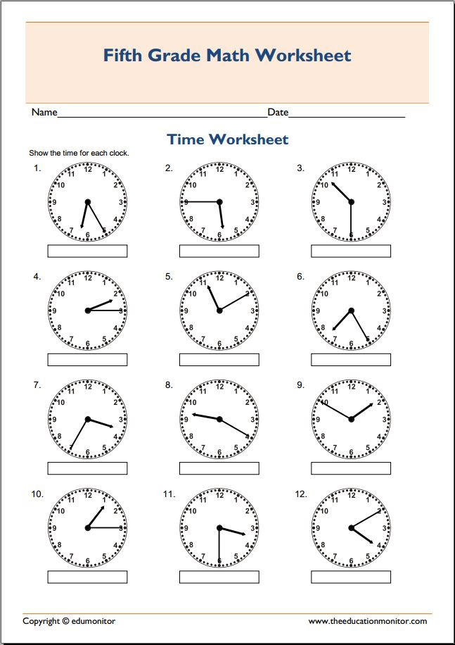 Th Grade Math Worksheets Telling Time