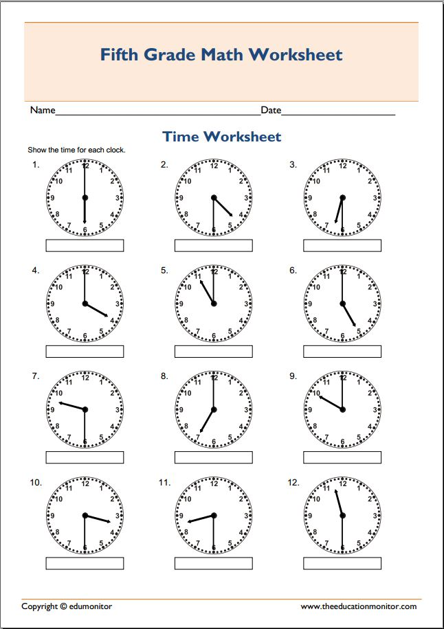 Free Printable Telling Time Worksheets  Edumonitor