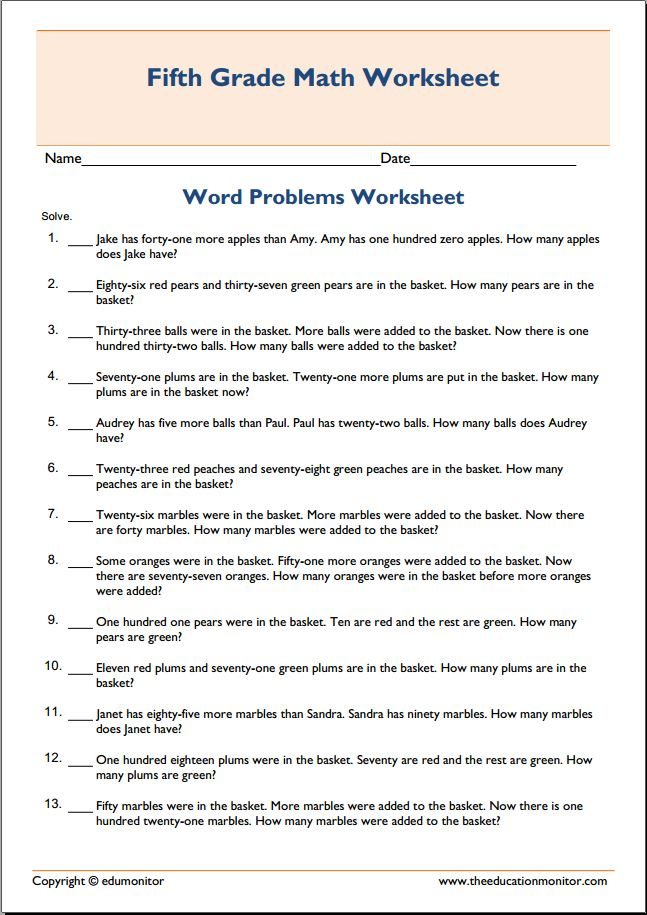Math addition word problems free worksheet