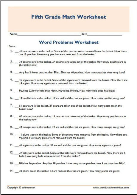 Math subtraction word problems free worksheet