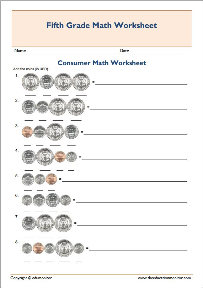 Free Printable Worksheets for 5th Grade – 5th Grade Math Printable Worksheets