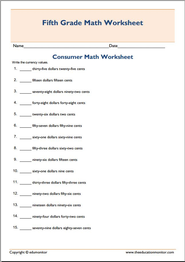Practice consumer math exercises