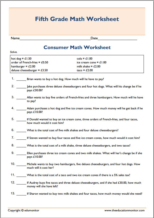 Free Worksheets preschool reading worksheets free : Spending Money Consumer Math Worksheet u2013 EduMonitor