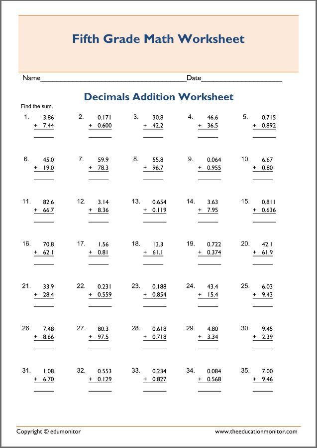 Printable Fifth Grade Decimal Worksheets   EduMonitor