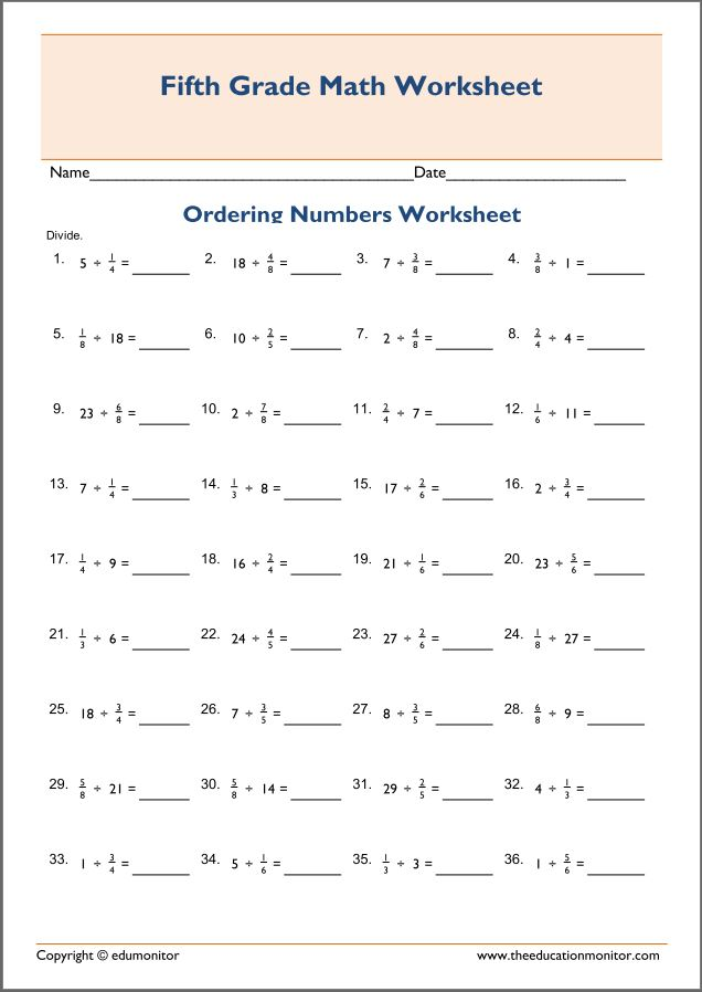 printable fraction division worksheets th grade printable fraction division worksheets