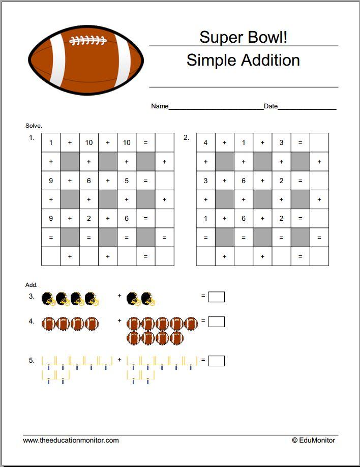 Kindergarten Super Bowl Worksheets – EduMonitor