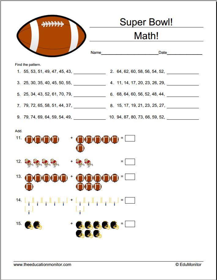 Fun Printable Super Bowl Math Activities – EduMonitor