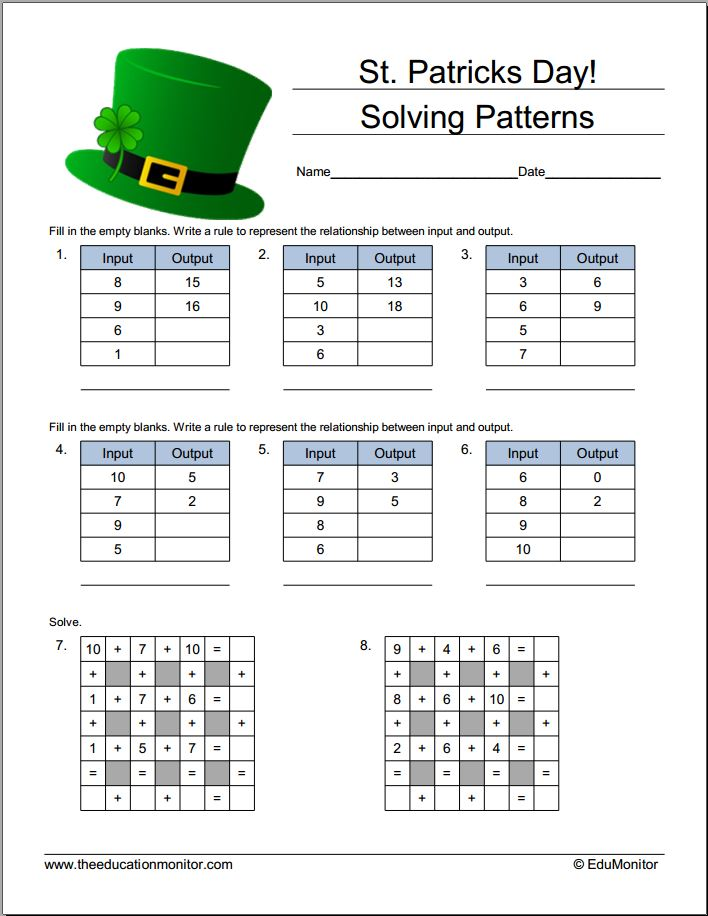 Printable Learning Materials For Kids| St. Patrick's Day