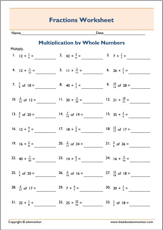 Free Printable Worksheets for 5th Grade – Multiplying Fractions and Whole Numbers Worksheets