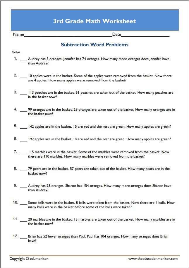 Grade 3 Printable Math Worksheets - EduMonitor