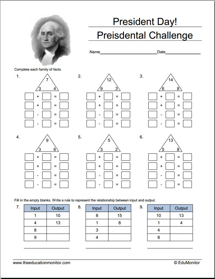 Presidents Day Math Worksheets And Activities EduMonitor – Presidents Day Worksheets