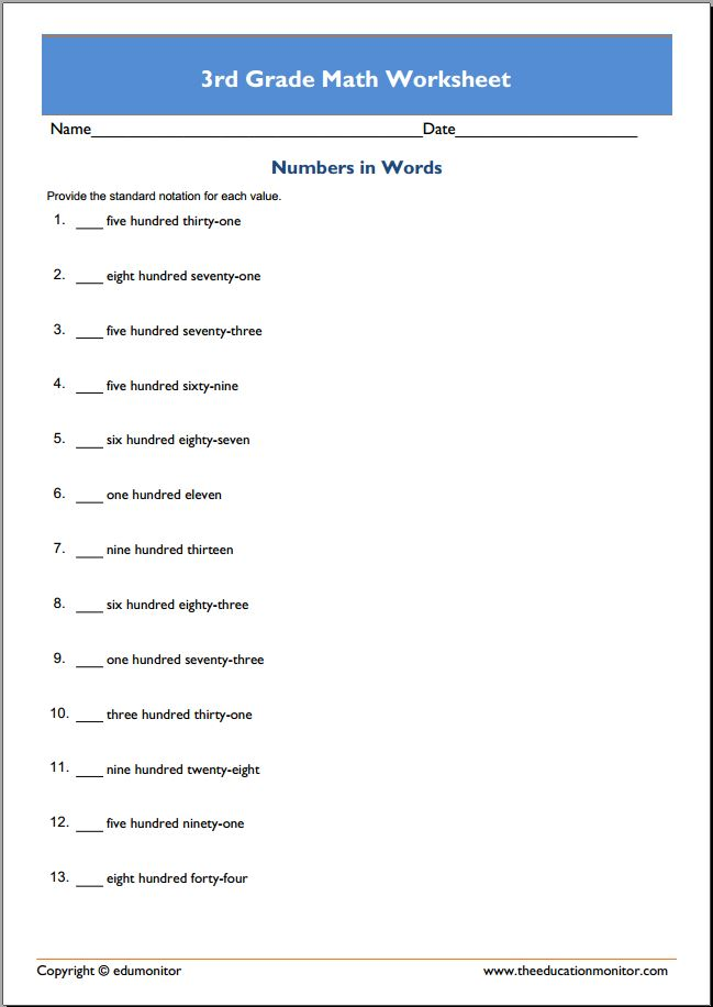 free 3rd grade math worksheets printable pdf edumonitor. Black Bedroom Furniture Sets. Home Design Ideas