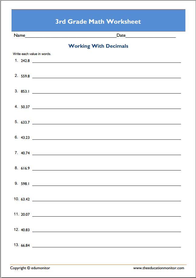 Printable 3rd Grade Math Worksheets - EduMonitor