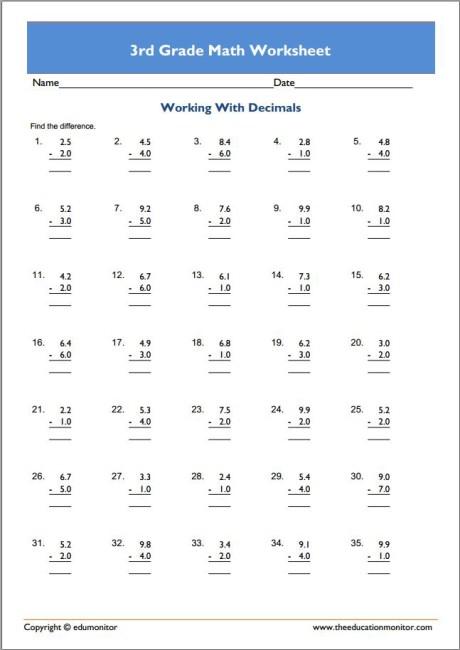Downloadable Free 3rd Grade Math Worksheets Edumonitor