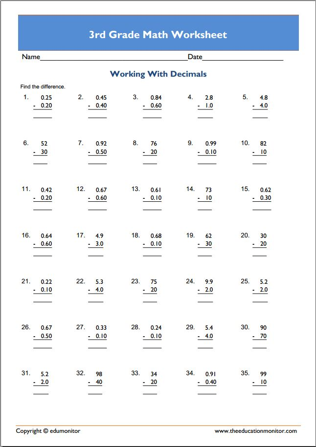 Downloadable 3rd Grade Math Worksheets - EduMonitor