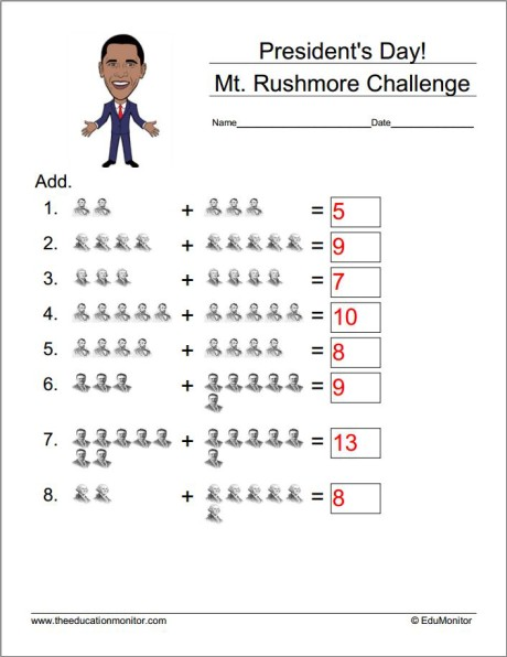 Free Math Worksheets- President's Day