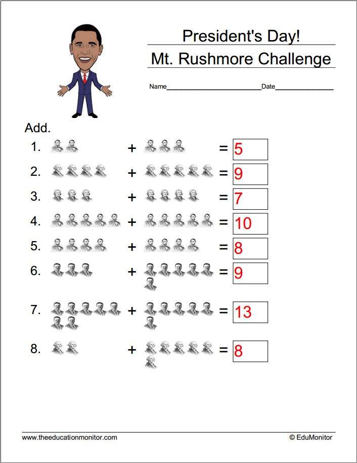 Free Math Worksheets- President\'s Day – EduMonitor