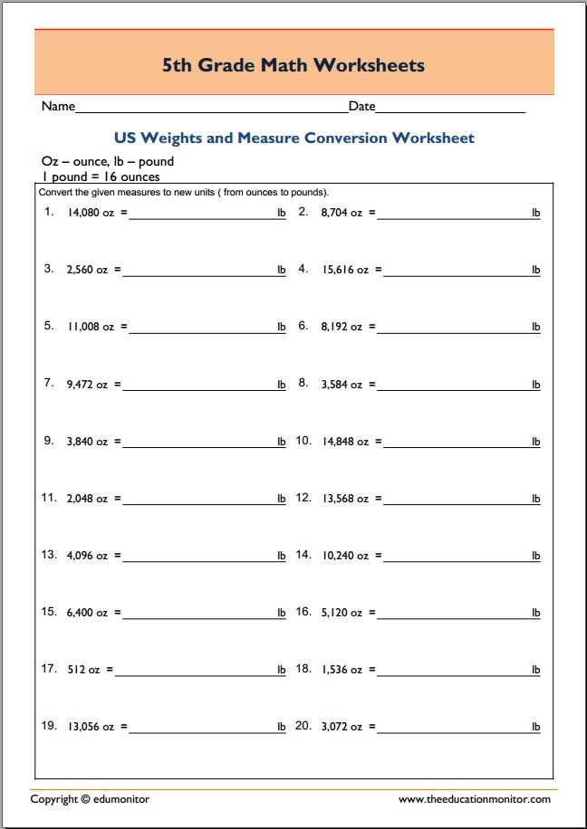 Measuring Weights 5th Grade Printable Worksheets EduMonitor