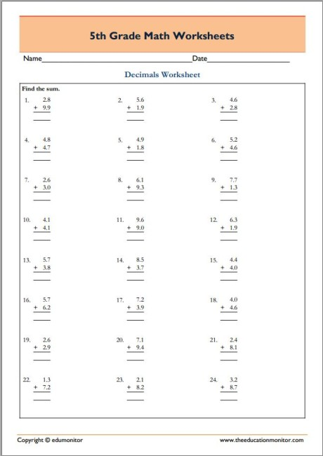5th Grade Math Worksheets pdf - free downloads