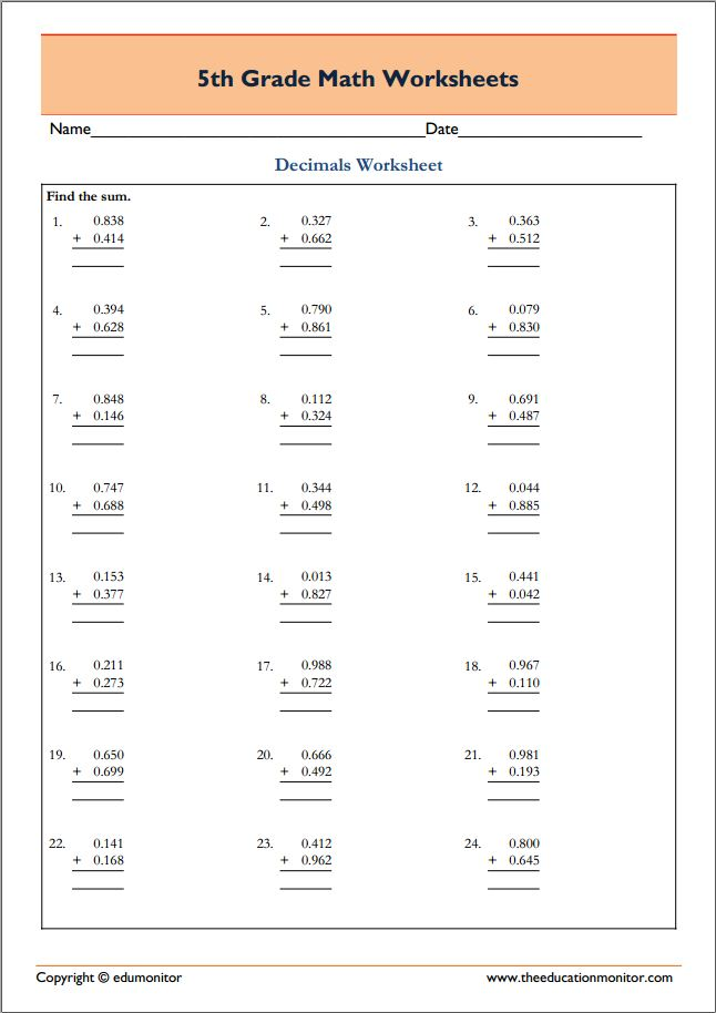 Fifth Grade Math Worksheets in pdf
