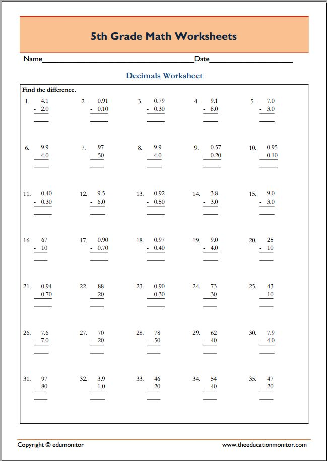 5th Grade Math Worksheets pdf - EduMonitor