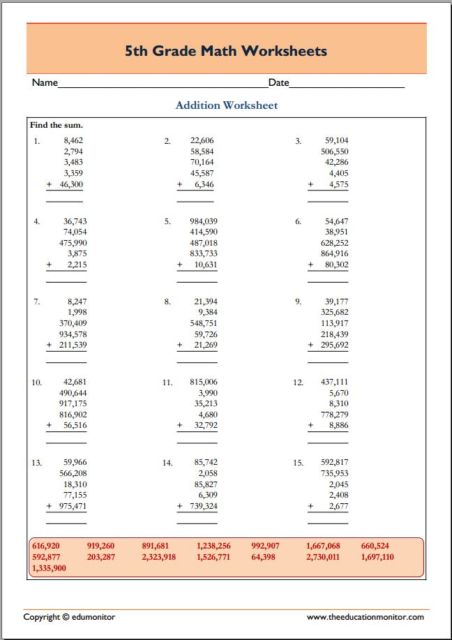 Cool grade 5 math worksheets