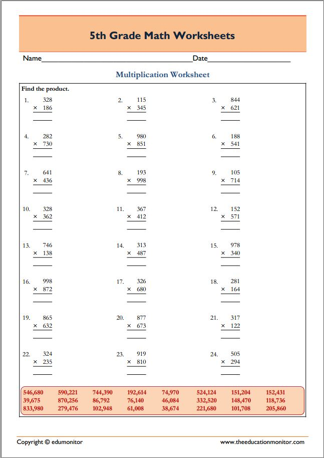 Free 5th Grade Math Multiplication Worksheets - 3 x 3 digits