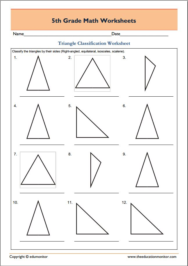 Grade 5 math worksheets geometry